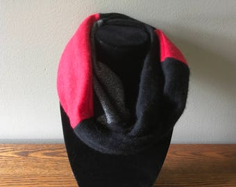 Upcycled triple loop cashmere infinity scarf #53. Red, black and grey felted cashmere infinity scarf.
