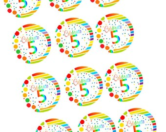 Item#RE-005 Happy 5th Birthday 2inch Rainbow Edible Cupcake / Cookie Frosting Image Toppers -12ct