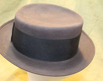 Vintage  Amish Style Men's  Flat Top  Fedora Fur Felt Wide Brim Black Hat  Lancaster PA