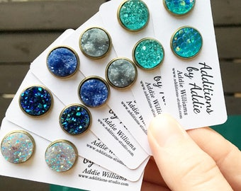 Drusy Stud Earrings in multiple colors