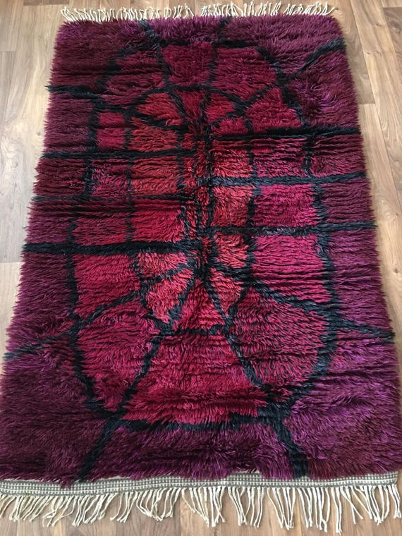 Vintage Swedish Scandinavian ryamatta wool rug mid century purple psychadelic shagpile