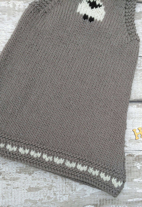 Knitted Baby Dress A line dress Sheep detail 6 M Wool rich