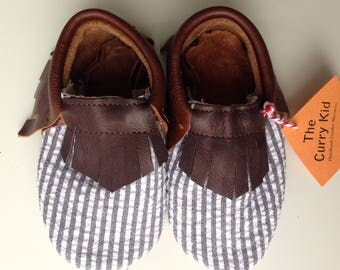 Genuine chocolate brown leather moccasins w/ striped fabric overlay