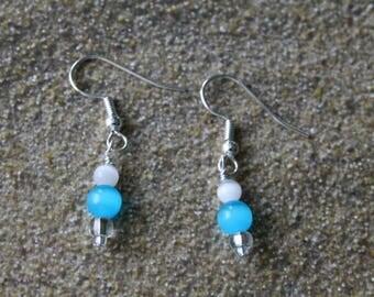 Dangle Earrings, Aqua Blue Tiger Eye Glass Bead