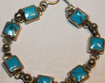 Turquoise Sterling Silver Chain Link Bracelet        FREE USA Shipping!