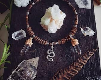 Silver snake necklace with smokey quartz