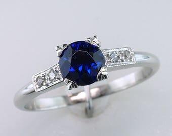 Art Deco 1.08ct Sapphire & Diamond Platinum Vintage Antique Engagement Ring