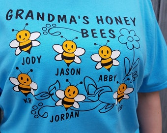 Grandma's Honeybees - Personalized Bee Themed T-shirt With Names