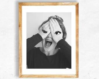 Printable Art, Portrait Photography, Girl Photography Print, Model Photography Printable, Studio Photography, Fine Art Print, Laugh, 8x10