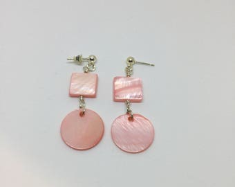 Pink mother of pearl earrings