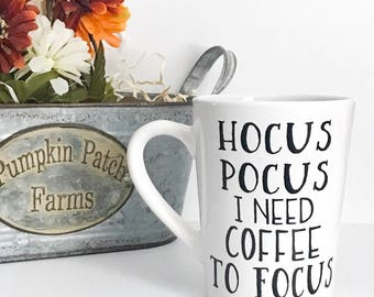 Clearance, Hocus Pocus, I need coffee to focus, 14oz coffee mug, Imperfect mug, coffee cup, fall coffee mug, halloween mug,  gift for her
