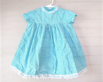 Vintage 1960's Baby Summer Dress / Green Cotton White Lace Baby Girl Dress / Size 9-12 Months