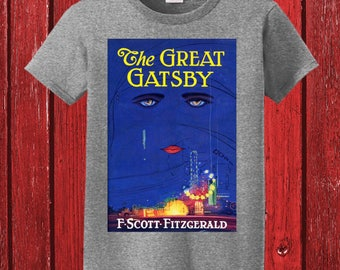 The Great Gatsby by F. Scott Fitzgerald Original Book Cover on 100% Preshrunk Cotton Tee Shirt