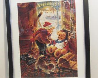 "Bradford Exchange Art Print Lithograph Framed - You'll Play Goalie : by Stewart Sherwood 11"" x 14"" 1997 Hockey"
