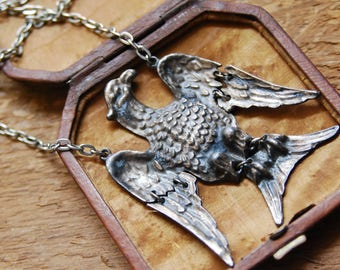 Vintage Eagle Pendant Necklace, Extra Large, Hinged Wings, Statement Piece