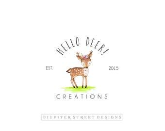 Logo Design-Watercolor Logo-Deer Logo-Small Business Logo