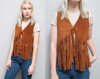 VTG 1970's I Brown I Suede I Fringe I Boho I Hippie I Vest I S