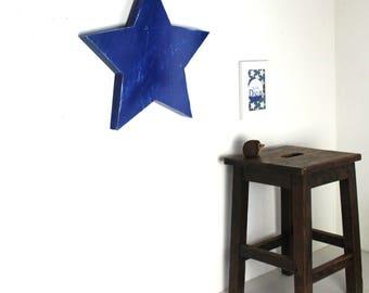 Etoile géante bleu nuit patiné style industriel à accrocher - décoration chambre - étoile géante - étoile personnalisée- mylittledecor