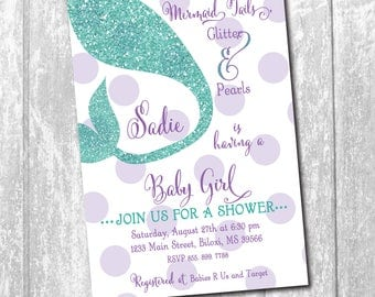 Mermaid Baby Shower Invitation printable/Digital File/purple and teal, glitter, tail, under the sea, little mermaid/Wording can be changed