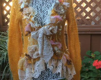 Hand Knit -Delicious Honey- Bohemian Top Handcraft Sz S Mohair
