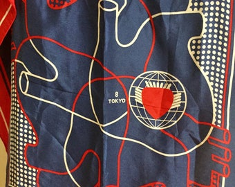 Square Silk Scarf Made in Japan with Anatomical Heart and Tokyo Red Blue White