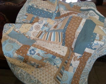 Soothing Blue and Tan Paisley and Floral Quilt