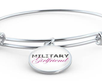 Military Girlfriend - Bangle Bracelet - Deployment Gift - Military Air Force Army Navy Coast Guard Marines - Handmade Jewelry Gift For Her