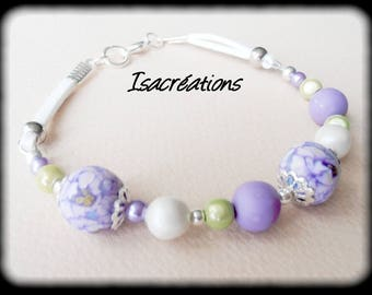 purple flower bracelet white and lime