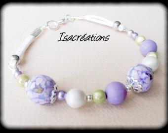 purple flower bracelet white and lime