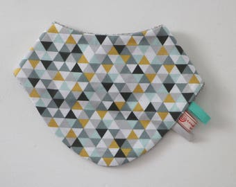 6-18 months fabric cotton bandana bibs and sponge mint gray yellow patterned graphics triangles