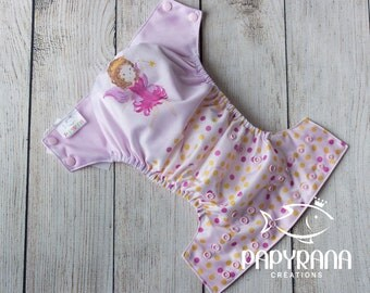 Watercolor Fairy adjustable cloth diaper with snaps / Fairy cloth diaper / watercolor print /EXCLUSIVE Papyrana design
