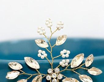 Gold Leaf Branch Hairpin | Bohemian Wedding Bridal Vine Hairpin | Bridal Vine Hairpin | Woodland Wedding Leaf Hairpin Bridal Hair Jewelry