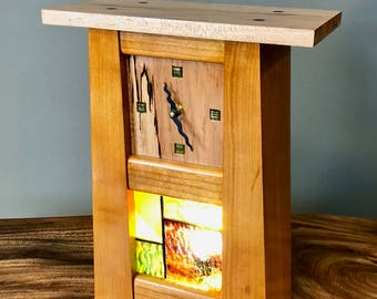 Craftsman | Mission Style Mantle/Desk/Table Wood and Stained Glass Clock