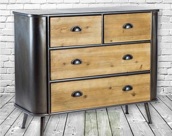 Loft/Industrial Style Metal & Wood Retro 2 over 2 Chest of Drawers.