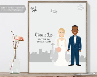 Wedding Guest Book Portrait / Seattle Skyline / Washington Portrait Guestbook / Custom Illustration ▷ Printed Paper, Canvas {or} Printable