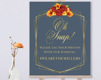 Fall Hashtag Sign / Instagram Sign / Red Rose Flower, Orange Calla Lilly, Floral, Gold Geometric ▷ Printed Paper, Canvas {or} Printable