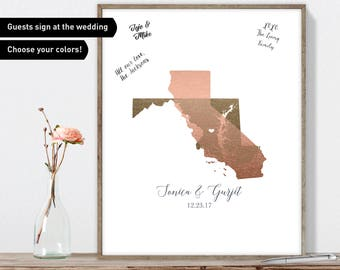 Love Map Wedding Guest Book Alternative / California & Maryland States Map / Faux Metallic Rose Gold Map Canvas Guestbook or Framed Print