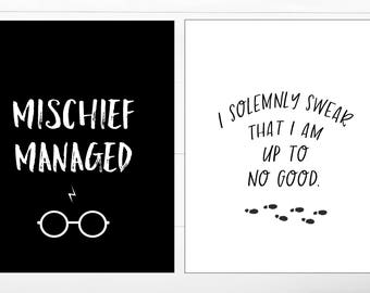 Marauder's Map Printable Collection, Mischief Managed, I Solemnly Swear I am Up to No Good, Harry Potter Digital Print