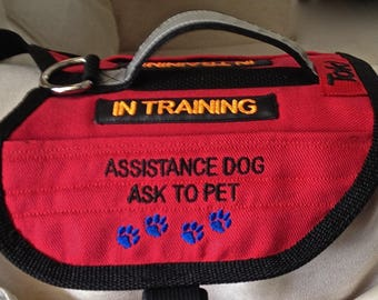 2 pocket, Warm, Dog Vest. Service Dog In Training, Service Dog, Emotional Support, you name and I'll embroider it on the vest.
