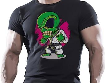 Alien Karate. Black Men's Cotton T-shirt