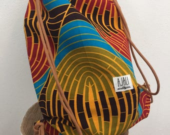 Ajali bag reversibile - african wax backpack reversible - sacca wax stoffa africana - pezzo unico