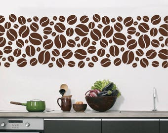 Wall Window Decal Sticker Coffee Cup Beans Kitchen Cafeteria Cafe Wall Decor  1605t