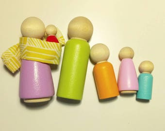 The Simple Family Peg Dolls, Waldorf Toy, Wood Toy, Dollhouse Dolls, Doll