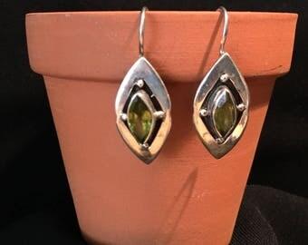 Vintage Peridot Earrings...Sterling Silver Earrings...1970s...Gypsy...Hippie...Birthstone...Ethnic...Gift...Vintage Shop