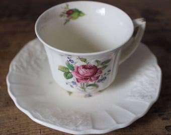Vintage Royal Crown Myotts Demitasse Cup and Saucer White Floral Staffordshire
