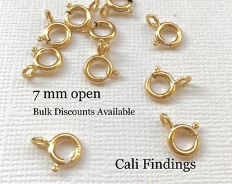 10 Pcs - 14K Gold Filled 7mm Spring Clasp, Gold Fill Clasp, Gold Fill Spring Clasp, Open Gold Spring Clasp, Gold Clasp, Necklace Clasp