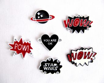 6 Pcs.Enamel Pins,Metalic  Pins,Collar Pins,Planet Pin,Star Wars Pin,Heart Pin,Pow Pin,WOW Pin,Lapel Pins,