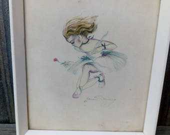 "Brownie Downing Watercolour Print ""the Tutu Frock"" Ballet Girl Scene"