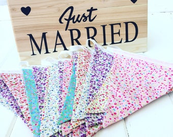 Wedding bunting , wedding bunting banners, wedding decorations, Fabric bunting, Outdoor bunting, Floral bunting, Long bunting banner