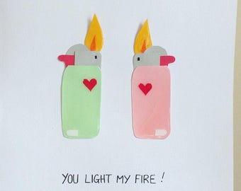You light my fire! Handmade anniversary/lovecard